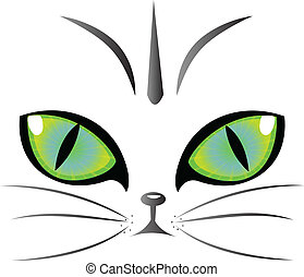 logo, oczy, wektor, kot