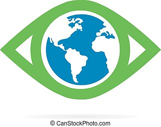 logo, oeil, vecteur, mondiale