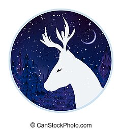 logo of a deer on a background of a night forest