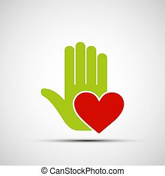 Logo of a human hand holding a red heart.