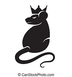 Logo of a stylized rat with a crown silhouette black on a white isolated background. Vector image