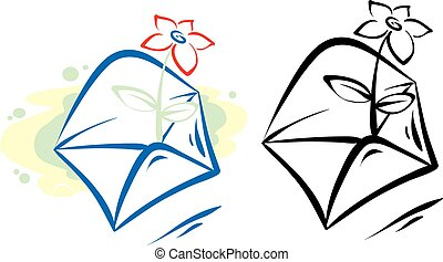 logo of an envelope from which a flower sticks out, isolated object on a white background, vector illustration,