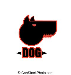 Logo of angry dog with strong collar. Aggressive pet.