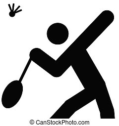 badminton - logo of badminton, black silhouette of a man