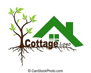 Logo of  country house with tree.