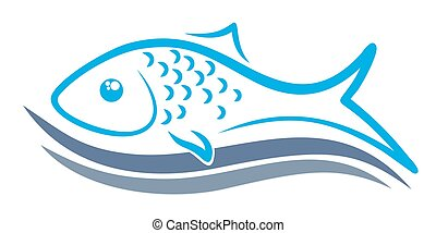 Logo of fish with wave. - A logo of sea fish with blue wave....