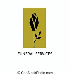 Logo of funeral services. Black rose on a gold background....