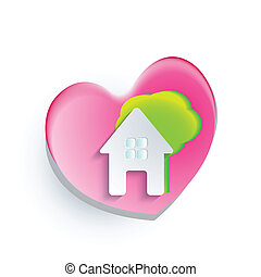 Logo of house heart tree