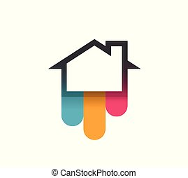 Logo of House with Colorful Bends - Vector Illustration isolated on white background.