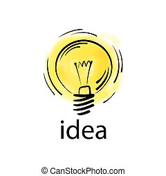 Logo of light bulb with concept ideas. Vector illustration