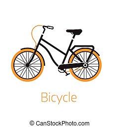 logo, of, mal, pictogram, fiets, straat, bw