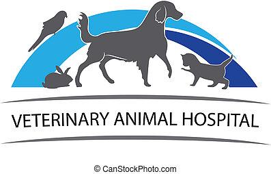 Cat ,dog ,rabbit and parrot logo design