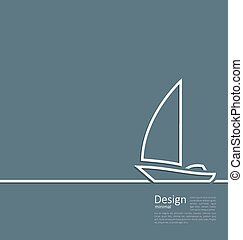 Logo of sailboat in minimal flat style line
