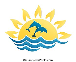 Logo of sun and sea with dolphins.