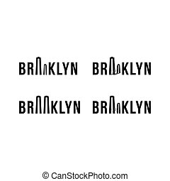 Logo of the Brooklyn bridge. Silhouette of the bridge in the font. Flat vector symbol EPS10.