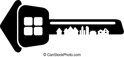 Logo of the builder, house key isolated on white background....