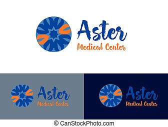 logo of the medical center aster blue and orange concept design vector