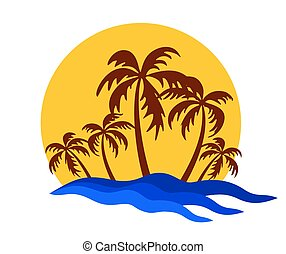 tropical island logo vector tropical island with palms sun and