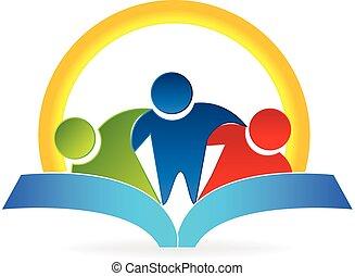 logo, omhelzing, mensen, boek, zon