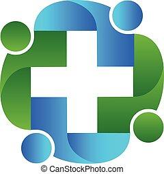 logo, omhelzing, teamwork, mensen