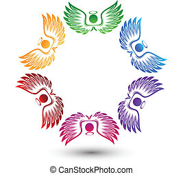 logo, omkring, änglar