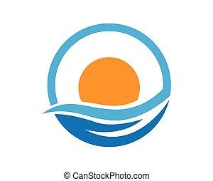 logo, ondergaande zon , mal