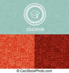 logo, onderwijs, vector, ontwerp