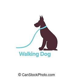 logo, ontwerp, dog, het lopen.