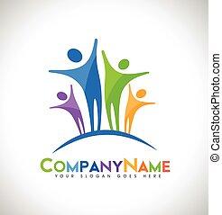 logo, ontwerp, mensen
