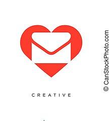 logo, ontwerp, pictogram, boodschap, liefde, symbool, vector