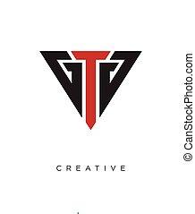 logo, ontwerp, pictogram, driehoek, symbool, tg, vector