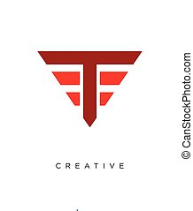 logo, ontwerp, pictogram, driehoek, symbool, vector, t