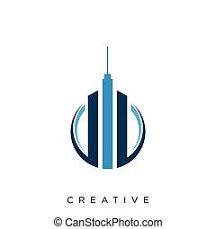 logo, ontwerp, pictogram, gebouw, symbool, vector