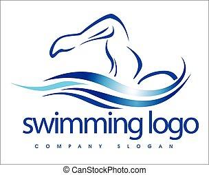 logo, ontwerp, zwemmen