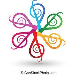 logo, opmerkingen, muzikalisch, veelkleurig