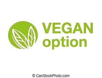 logo, optie, vegan