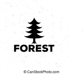 logo or emblem of a black fir-tree, grung style, with...