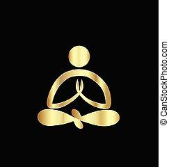 logo, or, homme yoga
