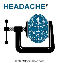 Logo or icon about a headache. Pressure on the brain....