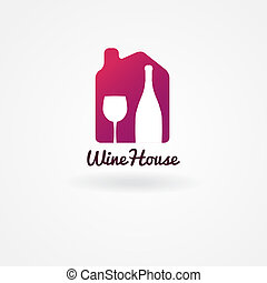Logo or label design for wine, winery or wine house. Wine house vector logo