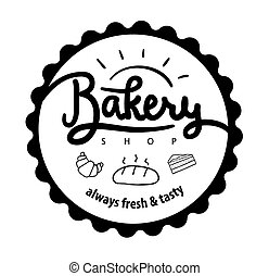 Logo or label for bakery and bread shop. Vector illustration. Ha