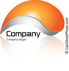 Logo, orange and grey with soft shadow