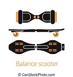 logo, ou, soi, planche, planer, équilibre, icônes
