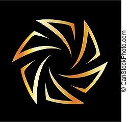 logo, ouverture, doré