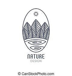 Logo oval landscape outline