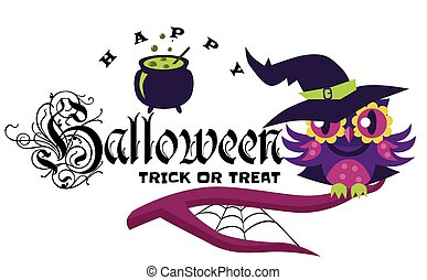 Logo owl in Halloween costume of witch. Mystery night-bird in hex suit sitting with potty potion on tree branch vector illustration. All Hallows Eve concept. Isolated on white background.