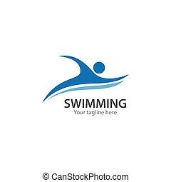 logo, pływacki, sport