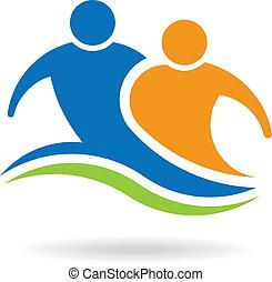 logo, paar, mannschaftskamerad, bild