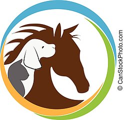 logo, paarde, dog, kat