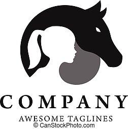 logo, paarde, silhouette, kind